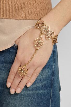 Gold-tone crystal finger bracelet