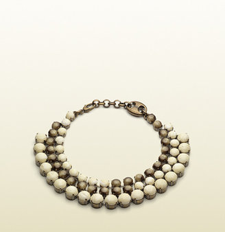 Gucci Necklace With Dark And Light Horn Colored Beads