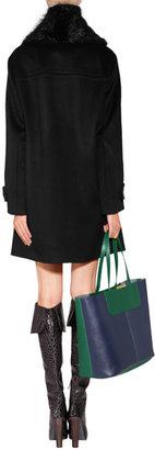 Emilio Pucci Wool-Cashmere Pea Coat with Fur Collar in Black