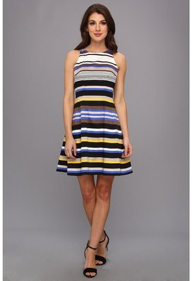 Maggy London Stripe Printed Cotton Sateen Dress