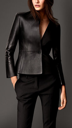 Burberry Bonded Nappa Leather Tailored Jacket