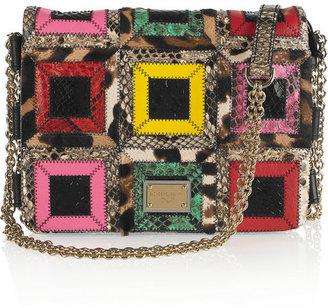 Dolce & Gabbana Leather, python and calf hair patchwork shoulder bag