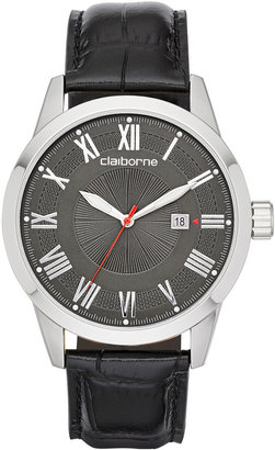 Claiborne Mens Silver-Tone Black Leather Strap Watch