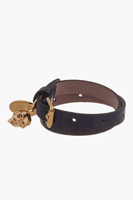 Alexander McQueen Navy Python Leather Double Wrap Skull Bracelet