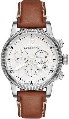 Burberry Watch, Women's Swiss Chronograph Tan Leather Strap 42mm BU7817 $695 thestylecure.com