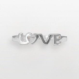 "Sterling silver openwork ""love"" ring"