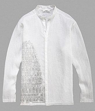 Murano Print Linen Mandarin-Collar Sportshirt