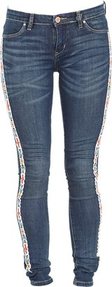 Blank NYC Blank Skinny Jean with Tribal Embroidery in Burial Ground