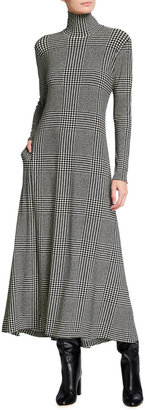 Norma Kamali Plaid Long-Sleeve Turtleneck Swing Dress