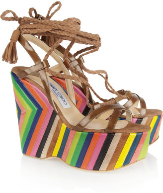 Jimmy Choo Pearl striped leather and suede platform sandals