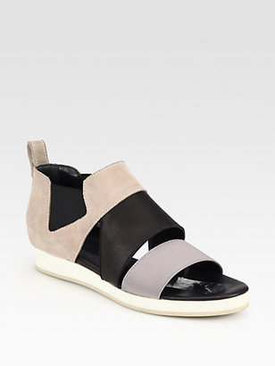Ld Tuttle VPL by Sude, Leather & Canvas Low Wedge Sandals
