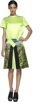 Proenza Schouler Ocean Scene Print Diamond Inverted Pleat Skirt