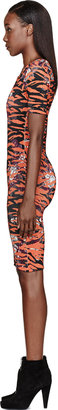 McQ by Alexander McQueen Orange Floral Tiger Print Dress