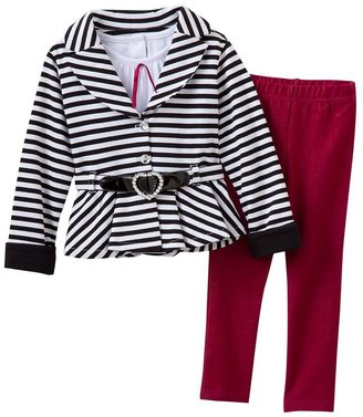 Little Lass 3-pc. belted jacket set - toddler