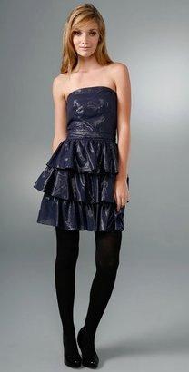 Charlotte Ronson Strapless Tiered Ruffle Dress