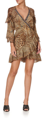 Camilla Mini Ruffle Animal-Print Wrap Dress