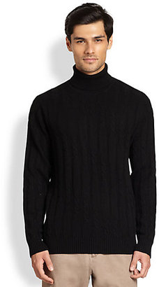 Saks Fifth Avenue Black Label Diagonal Cable-Knit Turtleneck