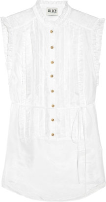 ALICE by Temperley Pleated silk satin-twill top