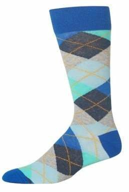 Hot Sox Men's Novelty Argyle Crew Socks