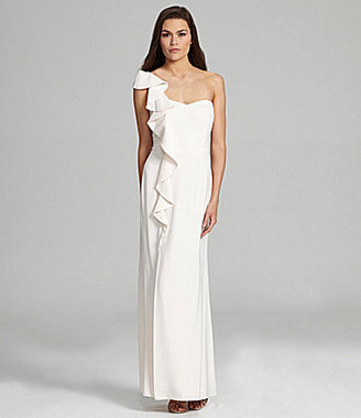 Laundry by Shelli Segal Ruffle One-Shoulder Gown