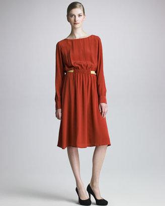 Thakoon Long-Sleeve Silk Dress
