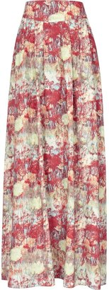 Reiss Lotto Maxi PRINTED FRILL SKIRT