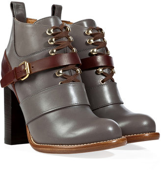 Chloé Leather Lace-Up Ankle Boots