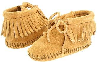 Minnetonka Kids Fringe Bootie (Infant/Toddler) (Tan Suede) Kids Shoes