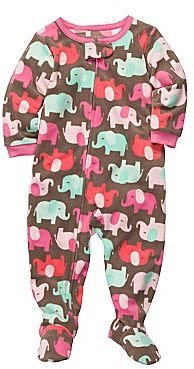 Carter's Elephant Fleece Footed Pajamas - Girls 12m-24m