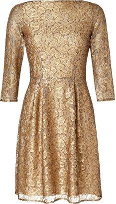 Issa Gold Lace Babushka Dress