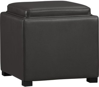 "Crate & Barrel Stow Smoke 17.5"" Leather Storage Ottoman"