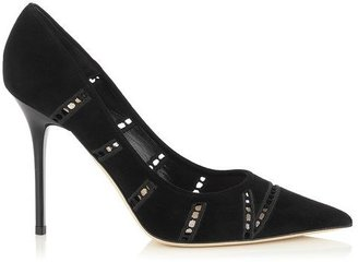Jimmy Choo Abel Embroidered Perforated Suede Pointy Toe Pumps