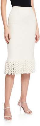 St. John Mini Float Twisted Fringe Pencil Skirt