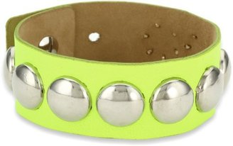 Streets Ahead Silver Dome Studs with Yellow Neon Cuff Bracelet