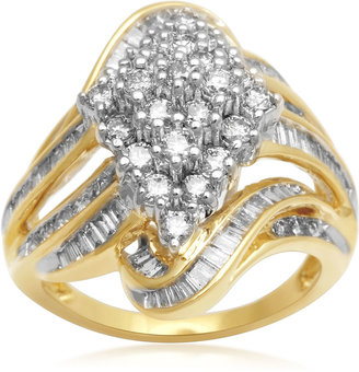 FINE JEWELRY 2 CT. T.W. Diamond Cluster 10K Yellow Gold Swirl Ring $3,000 thestylecure.com