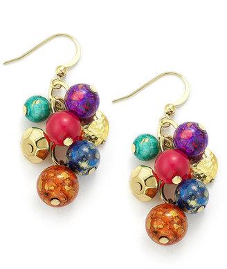 Style&Co. Earrings, Gold-Tone Multi-Color Cluster Bead Drop Earrings