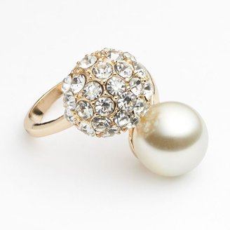 JLO by Jennifer Lopez gold tone simulated crystal & simulated pearl bypass ring