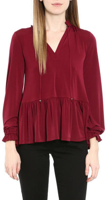 MICHAEL Michael Kors Tie-Neck Long Sleeve Ruffle Matte Jersey Top