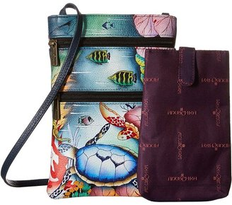Anuschka 448 Mini Double Zip Travel Crossbody Cross Body Handbags