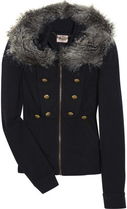 Juicy Couture Faux-fur trimmed hooded fleece jacket