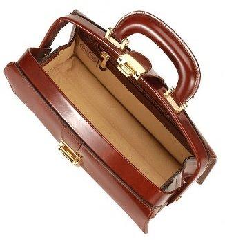 Pratesi Dark Brown Italian Calf Leather Mini Doctor Bag w/ Lighting