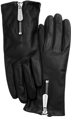MICHAEL Michael Kors Leather with Zipper Gloves