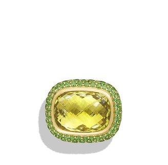 David Yurman Waverly Ring with Lemon Citrine and Demantoid Garnets