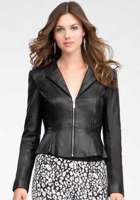 Bebe Perforated Peplum Leather Jacket