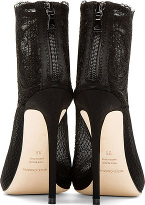 Dolce & Gabbana Black Lace & Mesh Ankle Boots