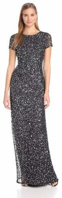 Adrianna Papell Women's Short-Sleeve All Over Sequin Gown $280 thestylecure.com