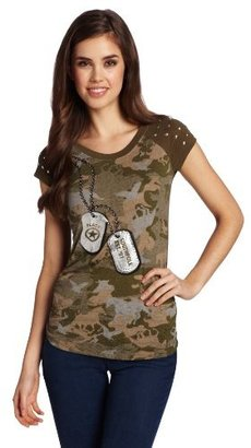 Southpole Juniors Sweet Tee In Military Theme Burn Out Fabric