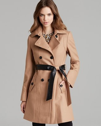 DKNY Coat - Double Breasted Trench with Pleather