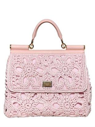 Dolce & Gabbana Miss Sicily Crochet Raffia & Canvas Bag