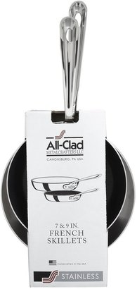 """All-Clad Stainless 7"""" Nonstick & 9"""" French Skillet Set"""